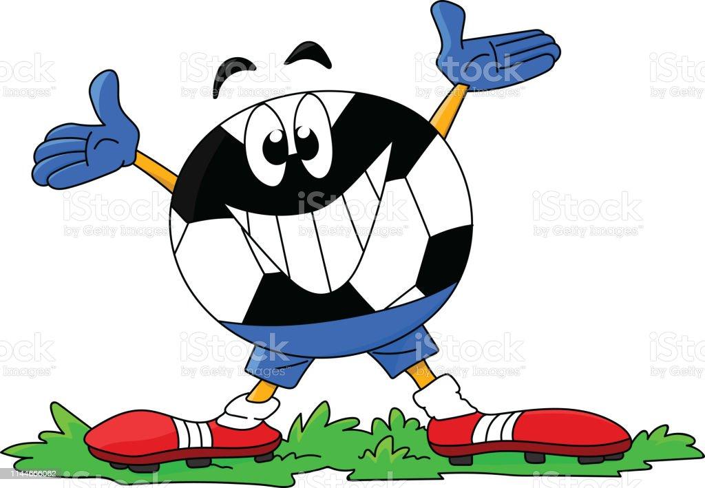 Cartoon Fussballcharakter Lachelt Zu Fussballfans