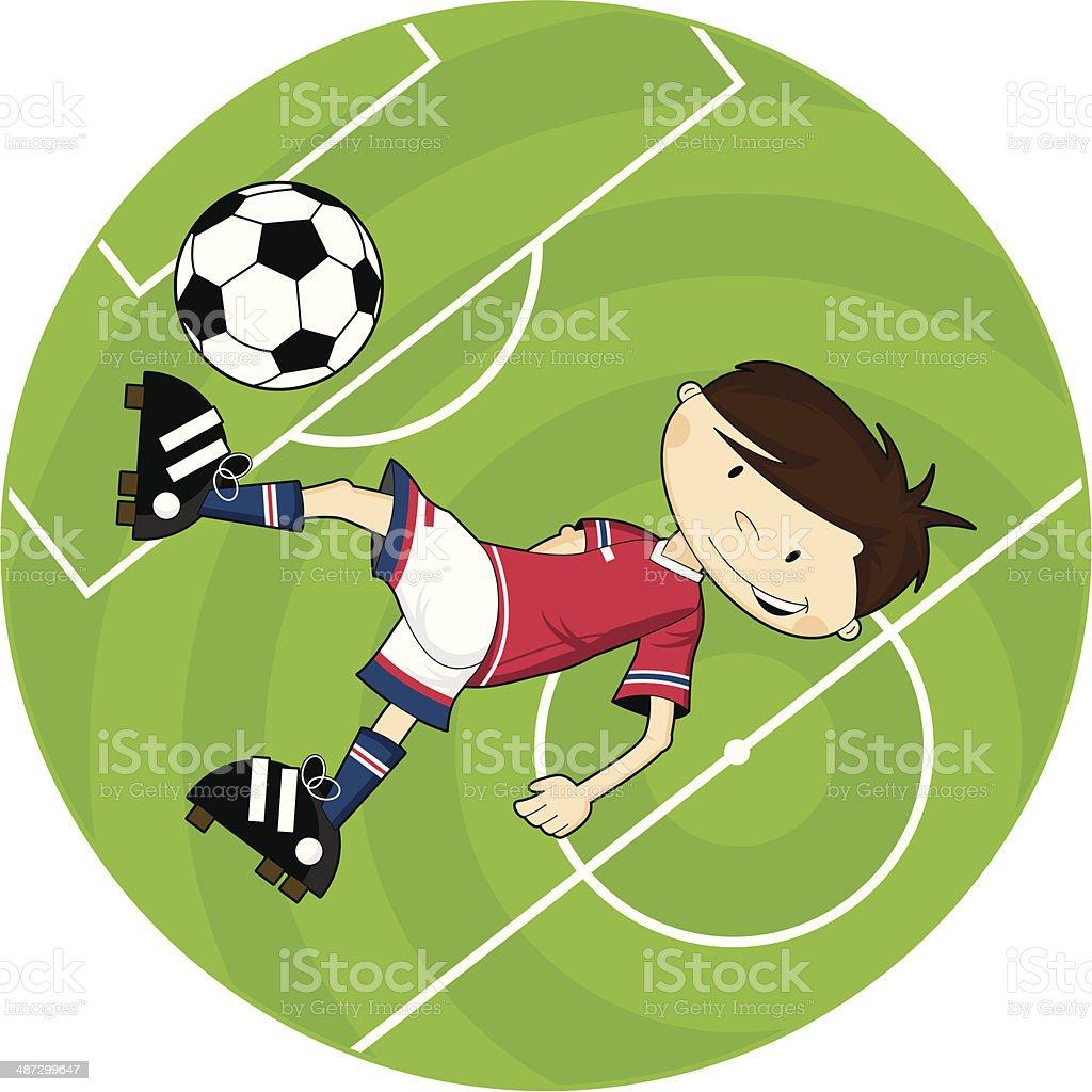 Futebol de futebol dos desenhos animados acena com personagem - ilustração de arte em vetor
