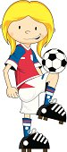 Cartoon Soccer Football Girl Character
