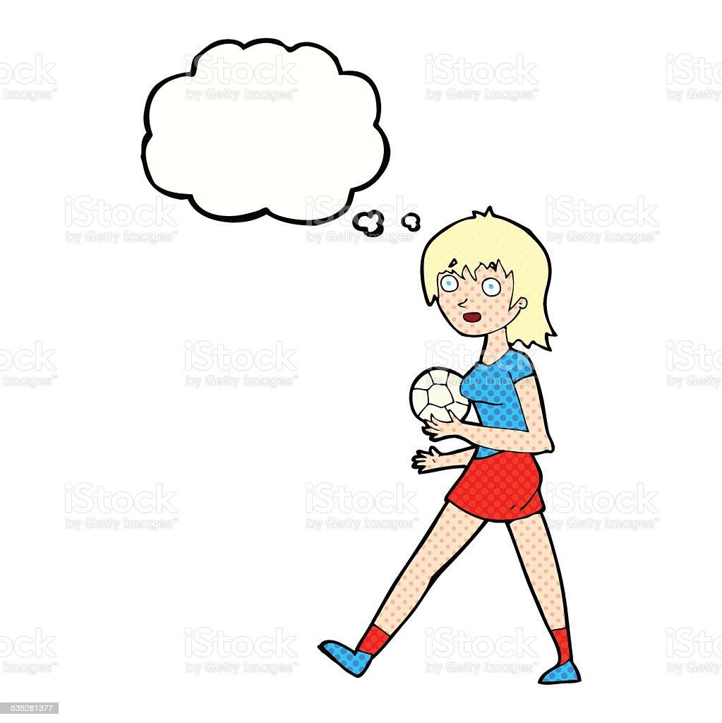 Comic Fussball Madchen Mit Gedankenblase Stock Vektor Art Und