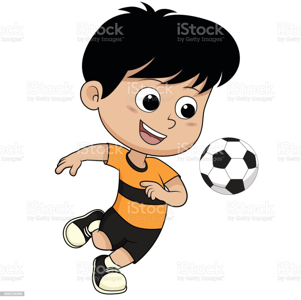 cartoon soccer kid stock vector art more images of asia 658233386
