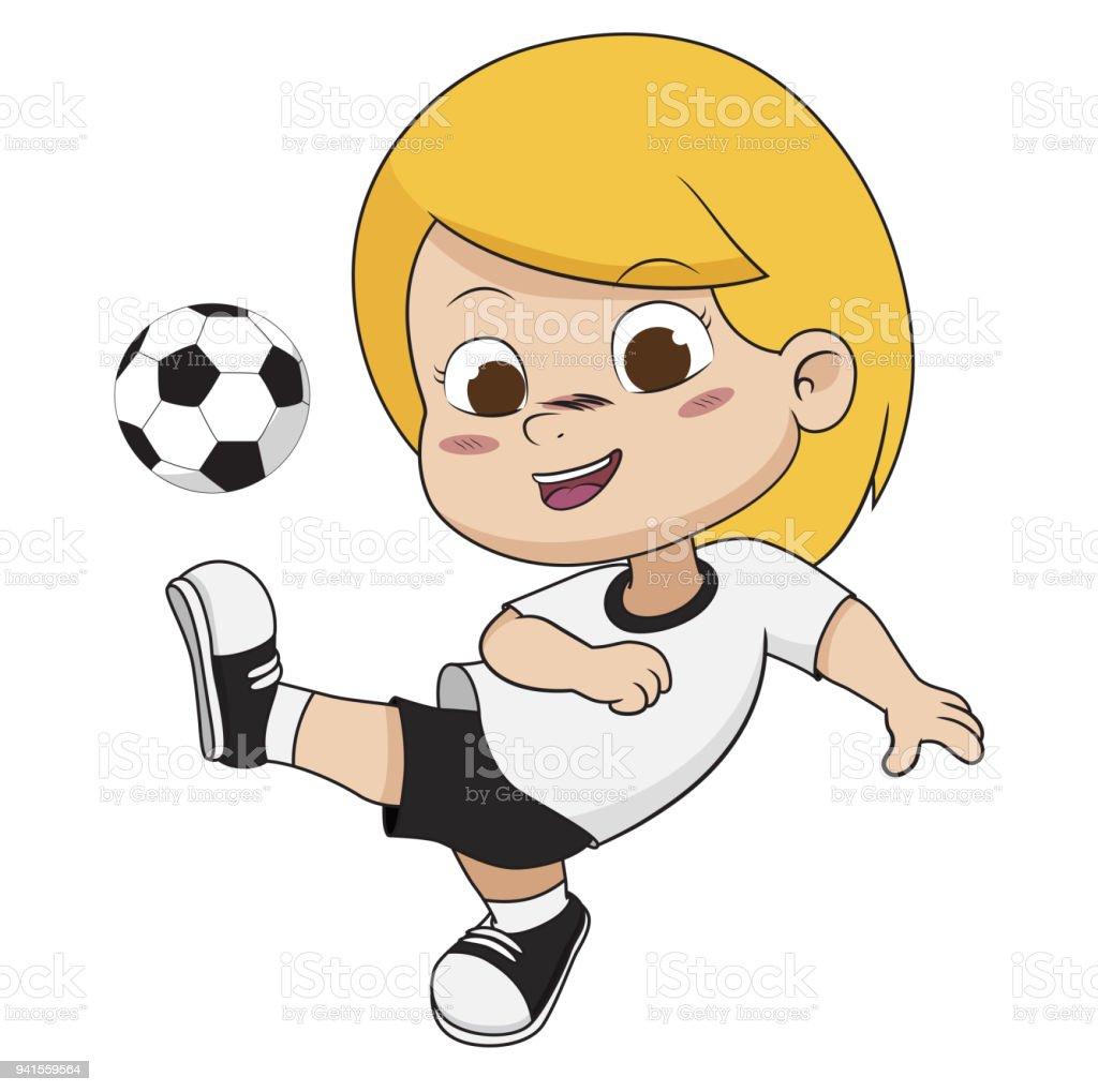 Cartoon Fussball Kind Stock Vektor Art Und Mehr Bilder Von