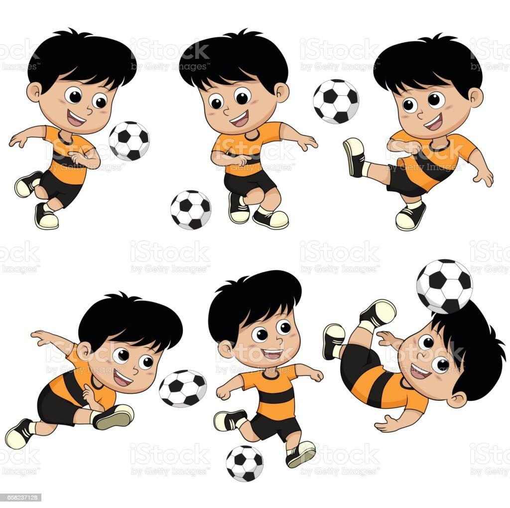 Comic Fussball Kinder Mit Verschiedenen Posen Stock Vektor