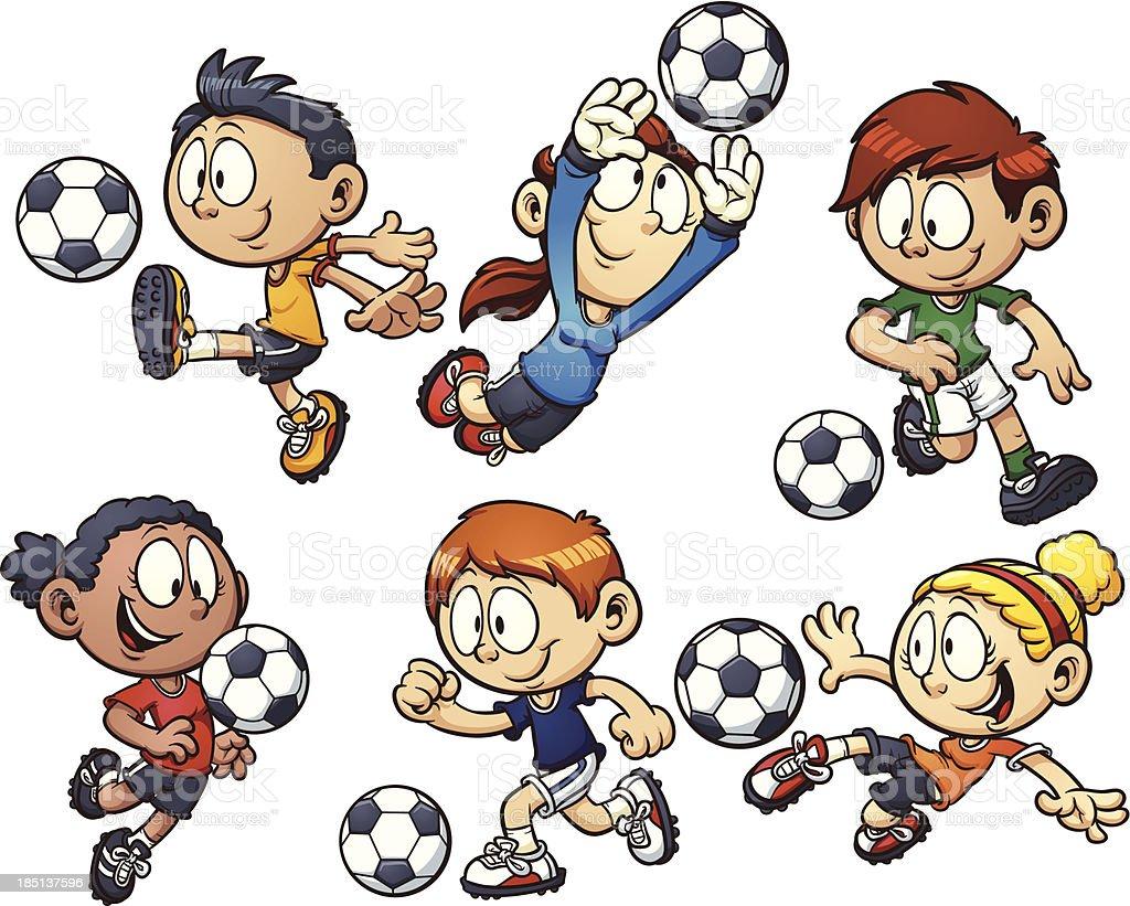 Comic Fussball Spielende Kinder Stock Vektor Art Und Mehr