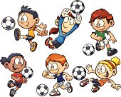 Cartoon kids playing soccer. Vector clip art illustration with simple gradients. Each element on a separate layer.