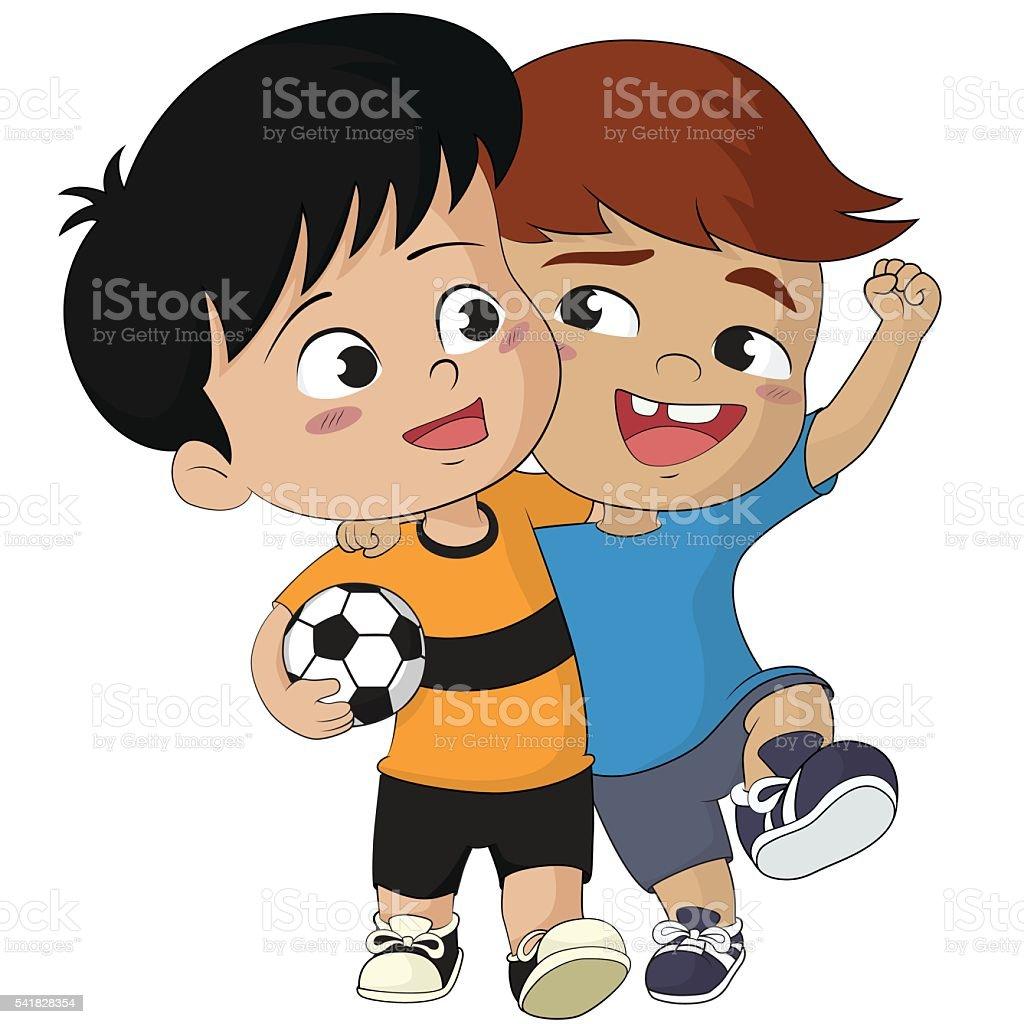 Comic Fussball Kinder Vektorgrafiken Und Illustrationen Stock
