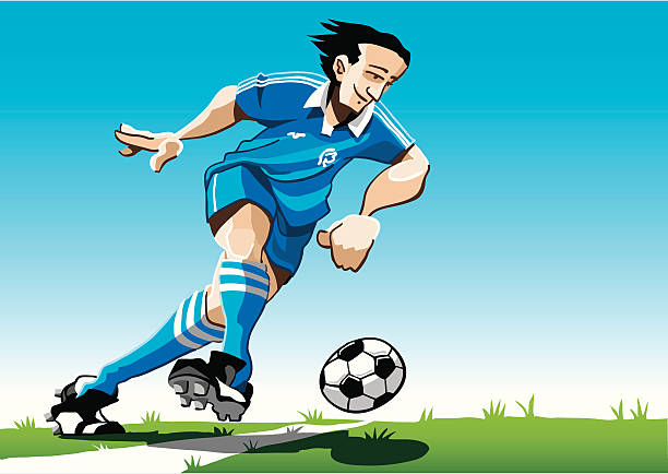 """Cartoon Soccer Player Blue """"Vector Illustration of a soccer player with a blue jersey. The background is on a separate layer, so you can use the illustration on your own background. The colors in the .eps and .ai-files are ready for print (CMYK). Included files: EPS (v8), AI (CS2) and Hi-Res JPG."""" soccer stock illustrations"""