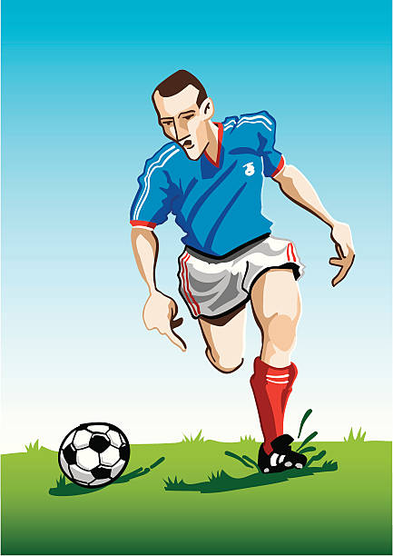 """Cartoon Soccer Player Blue """"Vector Illustration of a soccer player with a blue jersey. The background is on a separate layer, so you can use the illustration on your own background. The colors in the .eps and .ai-files are ready for print (CMYK). Included files: EPS (v8), AI (CS2) and Hi-Res JPG."""" running stock illustrations"""
