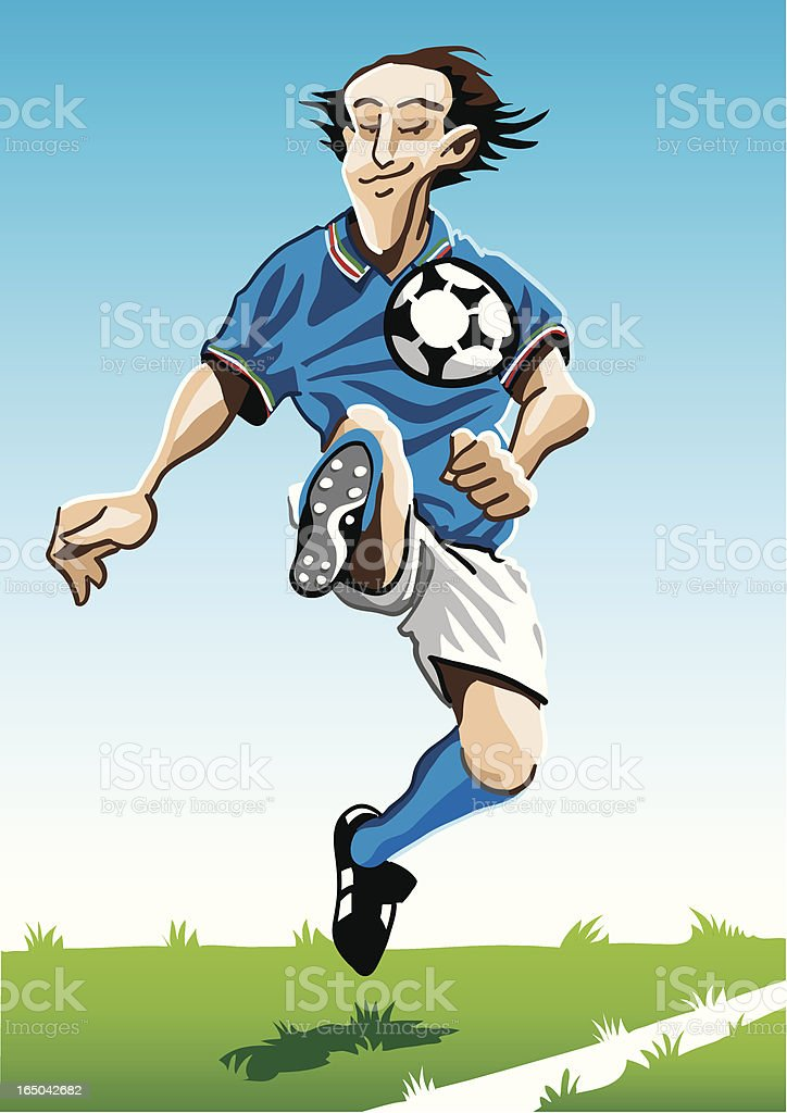 Cartoon Soccer Player Blue royalty-free stock vector art
