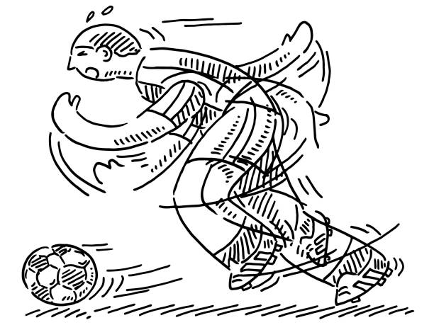 Cartoon Soccer Player Drawing Hand-drawn vector drawing of a Cartoon Soccer Player. Black-and-White sketch on a transparent background (.eps-file). Included files are EPS (v10) and Hi-Res JPG. running stock illustrations