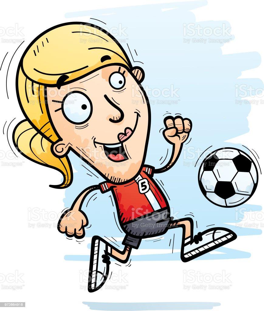 Cartoonfussballspieler Dribbeln Stock Vektor Art Und Mehr