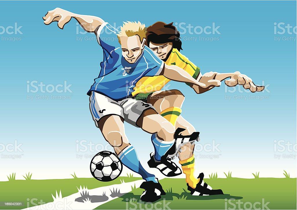 Comic Fussballspieler Duel Stock Vektor Art Und Mehr Bilder