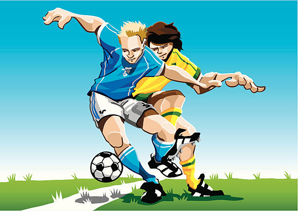 """Cartoon Soccer Player Duel """"Vector Illustration of a duel between two soccer players. The background is on a separate layer, so you can use the illustration on your own background. The colors in the .eps and .ai-files are ready for print (CMYK). Included files: EPS (v8), AI (CS2) and Hi-Res JPG."""" soccer stock illustrations"""