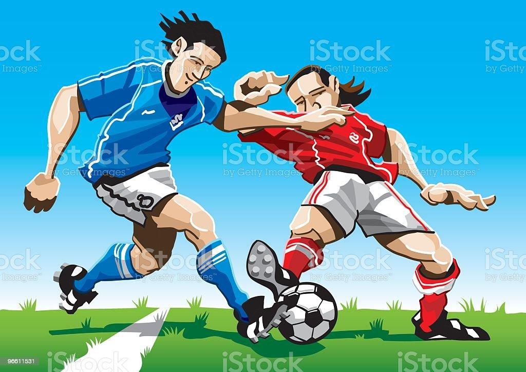 Historieta jugador de fútbol doble - arte vectorial de Adulto libre de derechos