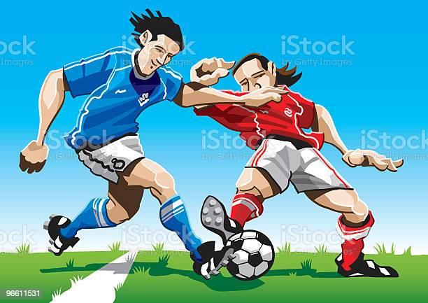 Cartoon Soccer Player Duel-vektorgrafik och fler bilder på Amerikansk fotbollsspelare