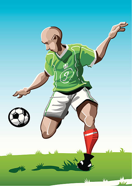 """Cartoon Soccer Player Green """"Vector Illustration of a soccer player with a green jersey. The background is on a separate layer, so you can use the illustration on your own background. The colors in the .eps and .ai-files are ready for print (CMYK). Included files: EPS (v8), AI (CS2) and Hi-Res JPG."""" soccer stock illustrations"""