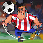 cartoon soccer player hits the ball while on the field