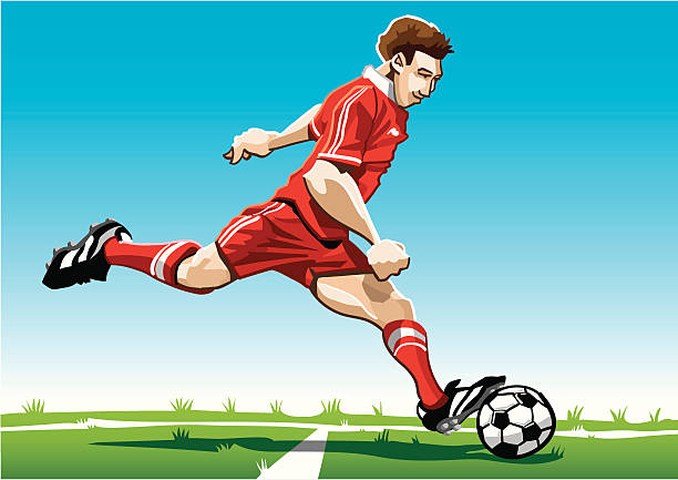 """Cartoon Soccer Player Red """"Vector Illustration of a soccer player with a red jersey. The background is on a separate layer, so you can use the illustration on your own background. The colors in the .eps and .ai-files are ready for print (CMYK). Included files: EPS (v8), AI (CS2) and Hi-Res JPG."""" running stock illustrations"""