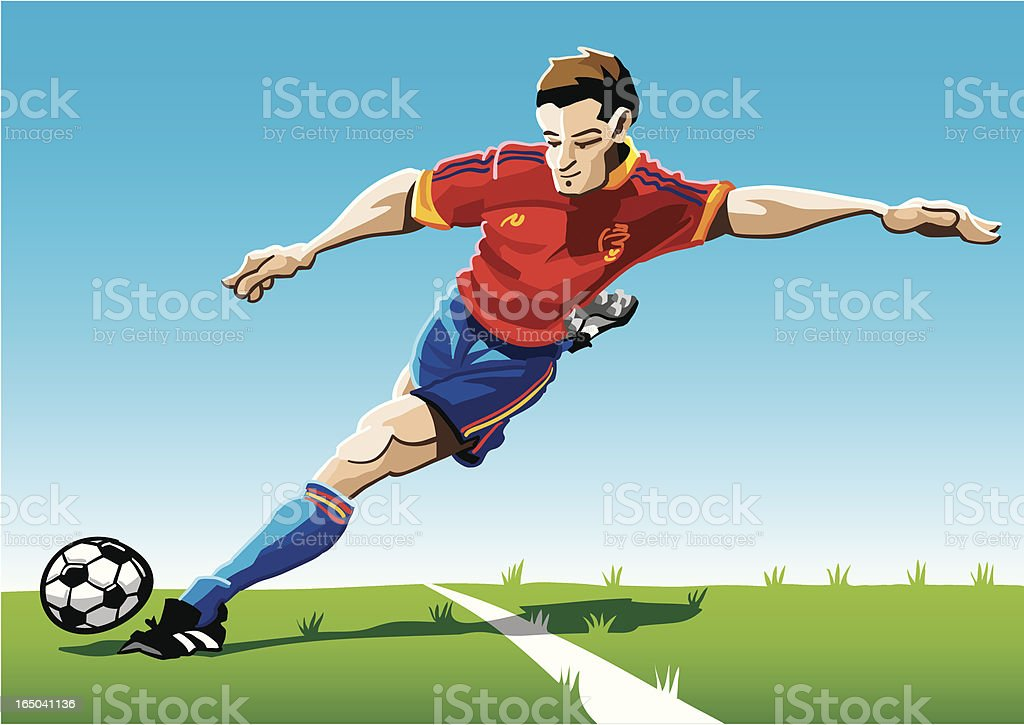 Cartoon Soccer Player Red-Blue royalty-free stock vector art