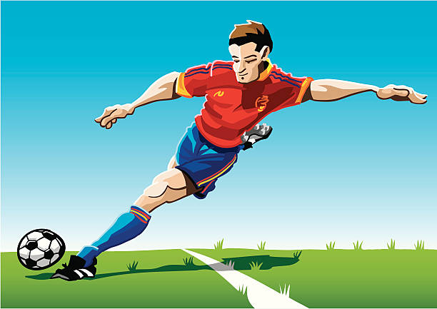 """Cartoon Soccer Player Red-Blue """"Vector Illustration of a soccer player with a red jersey. The background is on a separate layer, so you can use the illustration on your own background. The colors in the .eps and .ai-files are ready for print (CMYK). Included files: EPS (v8), AI (CS2) and Hi-Res JPG."""" soccer stock illustrations"""