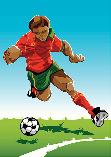 """Cartoon Soccer Player Red-Green """"Vector Illustration of a soccer player with a red-green jersey. The background is on a separate layer, so you can use the illustration on your own background. The colors in the .eps and .ai-files are ready for print (CMYK). Included files: EPS (v8), AI (CS2) and Hi-Res JPG."""" running stock illustrations"""