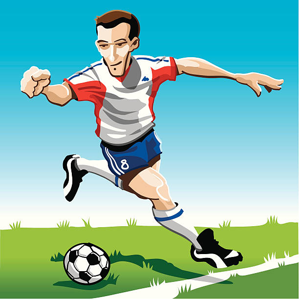 """Cartoon Soccer Player Red-White """"Vector Illustration of a soccer player with a red-white jersey. The background is on a separate layer, so you can use the illustration on your own background. The colors in the .eps and .ai-files are ready for print (CMYK). Included files: EPS (v8), AI (CS2) and Hi-Res JPG."""" running stock illustrations"""