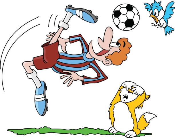cartoon-fußballspieler, der einen umgekehrten schuss macht, während seine tierfreunde ängstlich vektordarstellung beobachten - gerechtigkeitsliga stock-grafiken, -clipart, -cartoons und -symbole