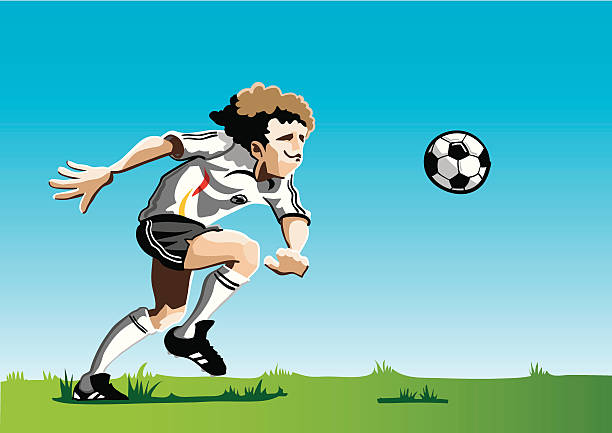 """Cartoon Soccer Player White """"Vector Illustration of a soccer player with a white jersey. The background is on a separate layer, so you can use the illustration on your own background. The colors in the .eps and .ai-files are ready for print (CMYK). Included files: EPS (v8), AI (CS2) and Hi-Res JPG."""" running stock illustrations"""
