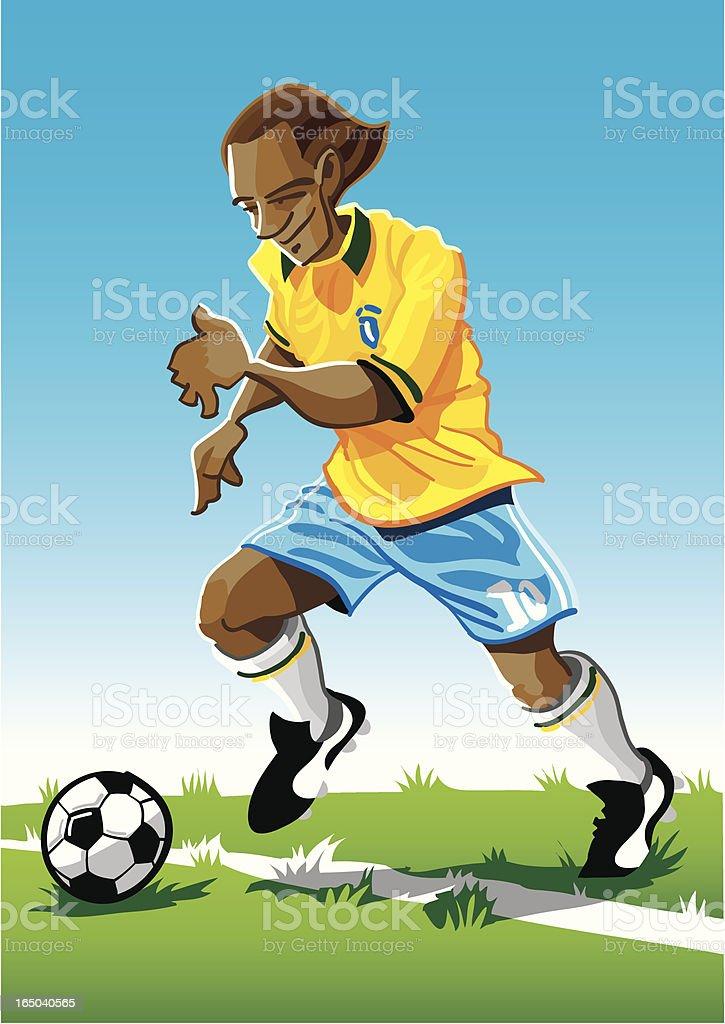 Cartoon Soccer Player Yellow vector art illustration