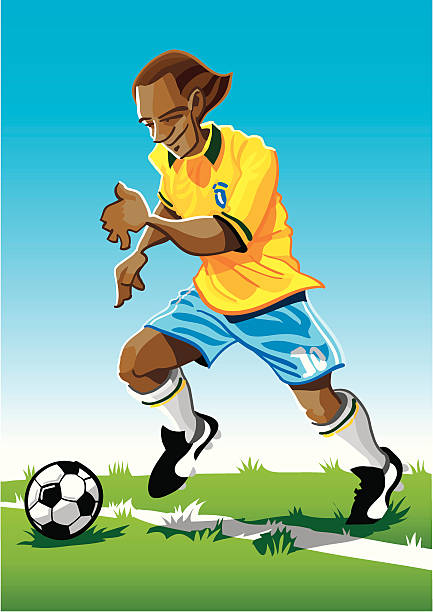 """Cartoon Soccer Player Yellow """"Vector Illustration of a soccer player with a yellow jersey. The background is on a separate layer, so you can use the illustration on your own background. The colors in the .eps and .ai-files are ready for print (CMYK). Included files: EPS (v8), AI (CS2) and Hi-Res JPG."""" running stock illustrations"""