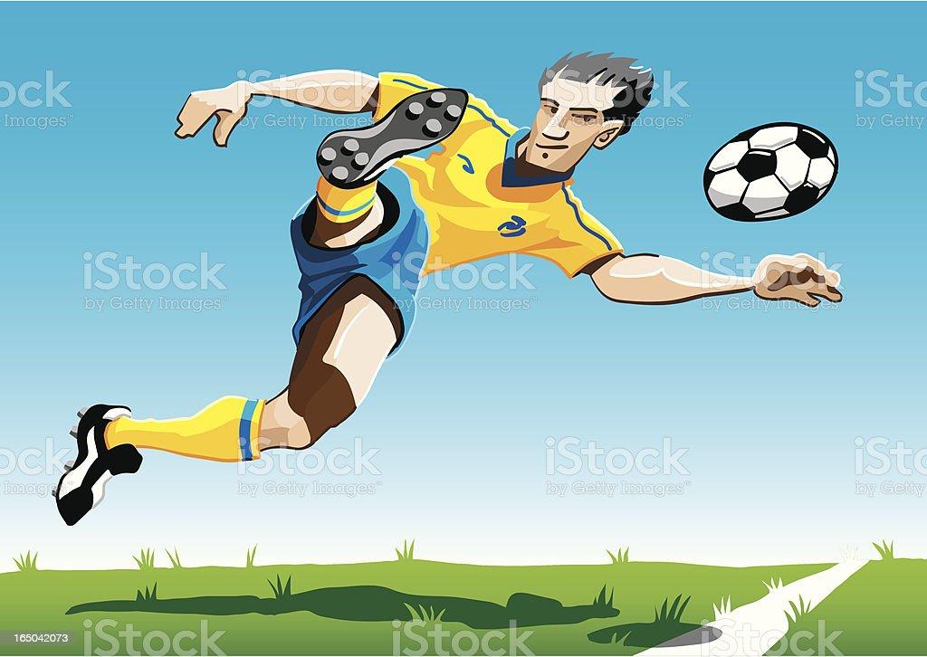 Cartoon Soccer Player Yellow-Blue vector art illustration