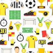 Cartoon Soccer Sport Game Background Pattern on a White Football Professional Equipment and Elements. Vector illustration