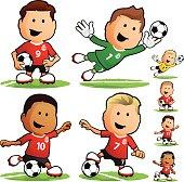 Cartoon soccer team players