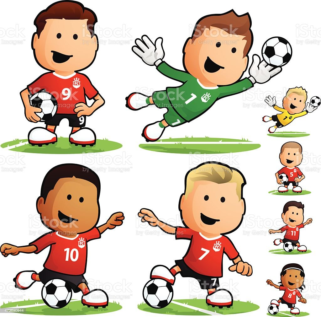 Cartoon soccer team players vector art illustration