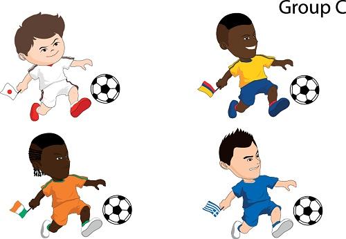 Cartoon soccer team