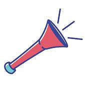 Vector Cartoon Soccer Vuvuzela Icon Illustration Isolated