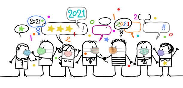 illustrations, cliparts, dessins animés et icônes de cartoon social people avec des masques de protection, célébrant le nouvel an 2021 - covid france