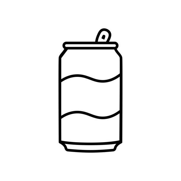ilustrações de stock, clip art, desenhos animados e ícones de cartoon soda can icon isolated on white background - latão