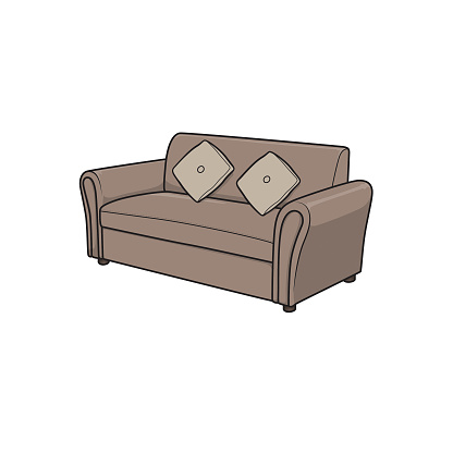 Cartoon sofa picture for children which is a vector illustration for preschool and home training for parents and teachers.