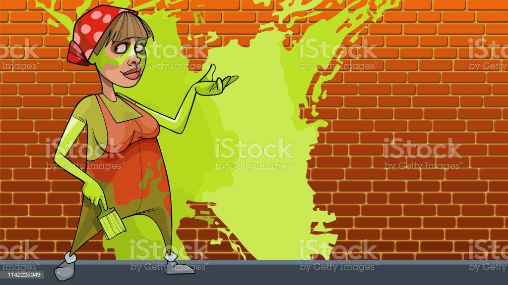 Dessin Animé De La Maison De La Femme Souillée Peint Le Mur
