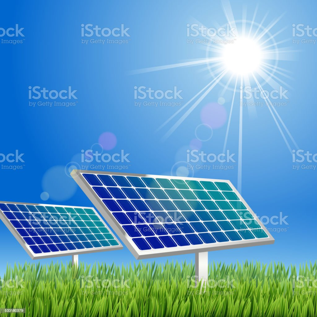 Cartoon Solar panel in the green vector art illustration