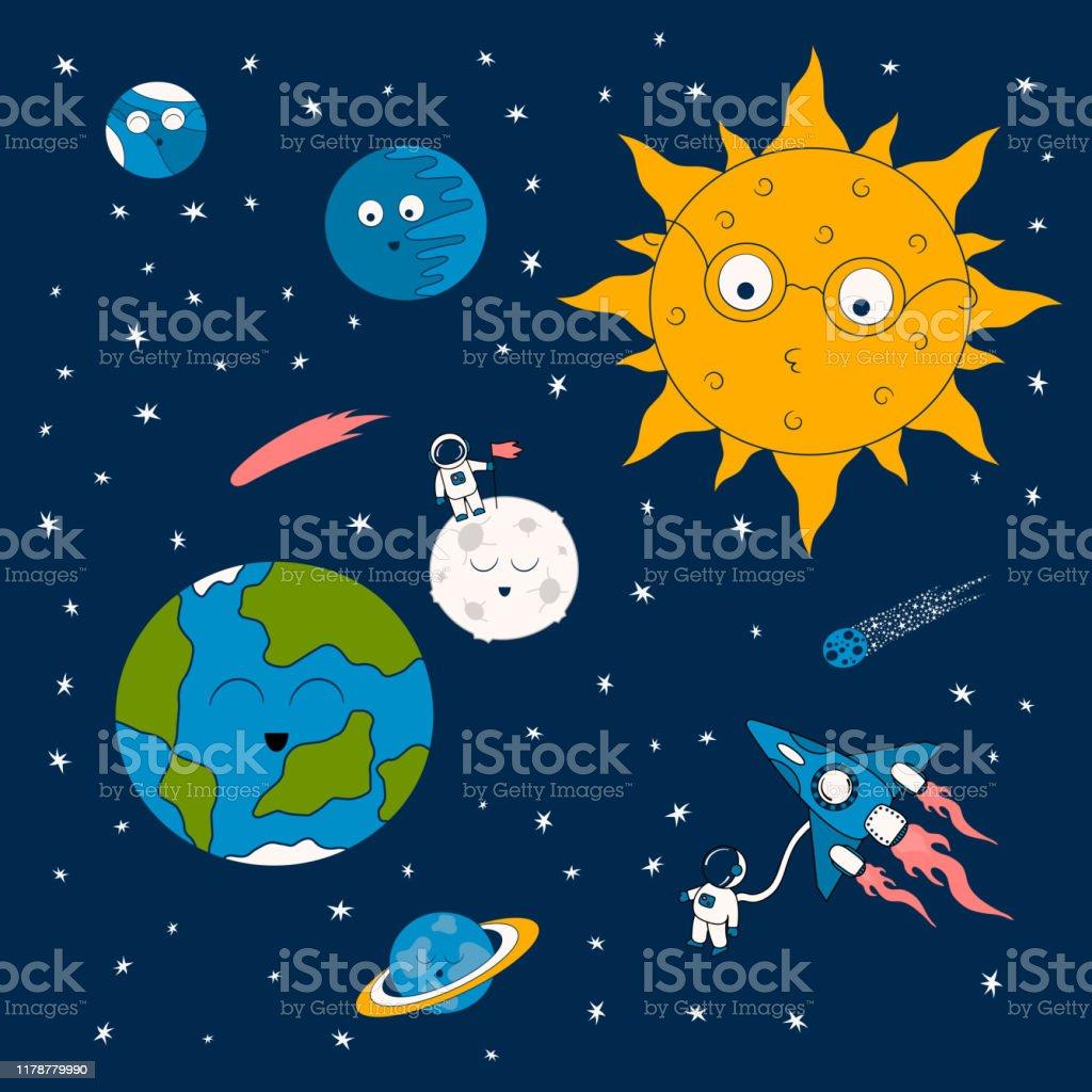 地球と漫画の太陽系のパターン月太陽や惑星上のかわいい宇宙飛行士宇宙船宇宙船や彗星と未来的な背景子供のためのかわいい銀河の壁紙 イラストレーションのベクターアート素材や画像を多数ご用意 Istock