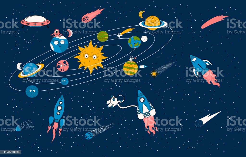 cartoon solar system pattern with spaceships alien ships and earth vector id1178779834