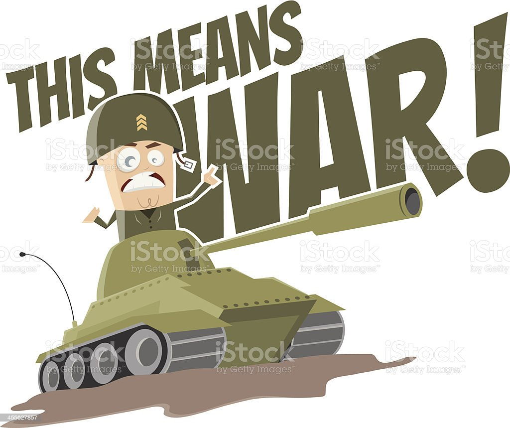 cartoon soldier in tank vector art illustration