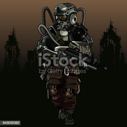 cartoon soldier of the apocalypse in a protective suit with a gun