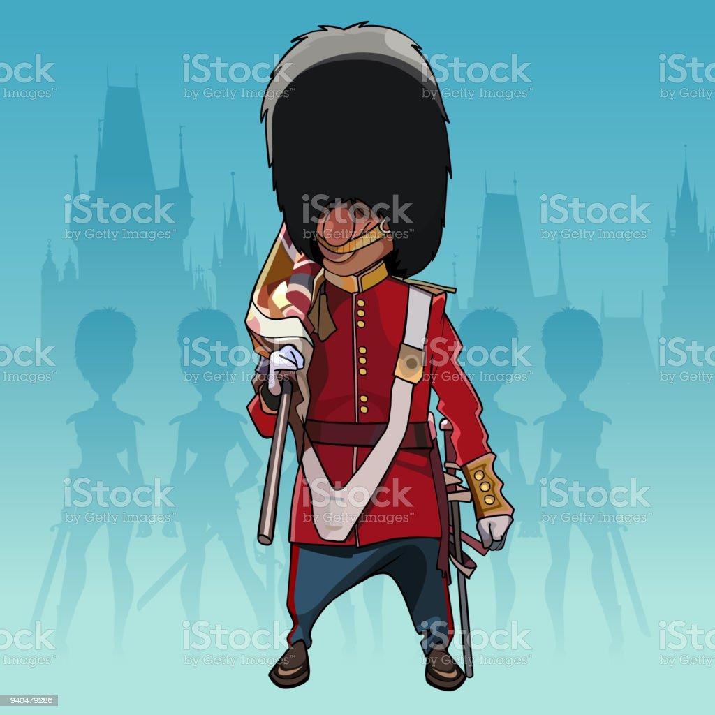 Soldat De Dessin Animé De La Garde Royale Avec Un Drapeau