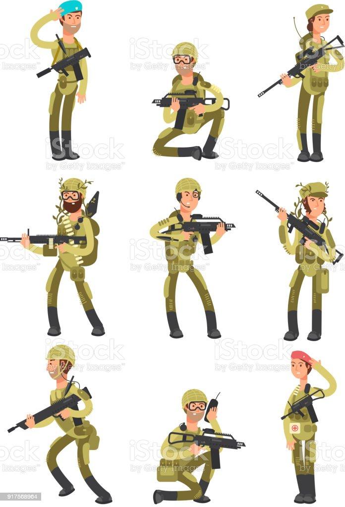 ilustração de soldados de desenhos animados em diversas ações os
