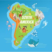 Cartoon map of South America with landscapes,mountains,rivers and cute cartoon animals. Vector illustration