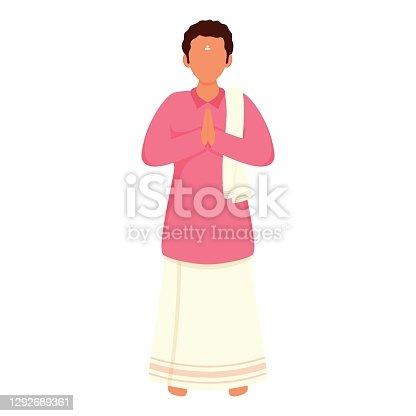 istock Cartoon South Indian Man Doing Namaste In Standing Pose. 1292689361