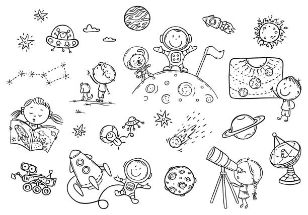 Cartoon space and astronauts set, coloring page for kids vector art illustration
